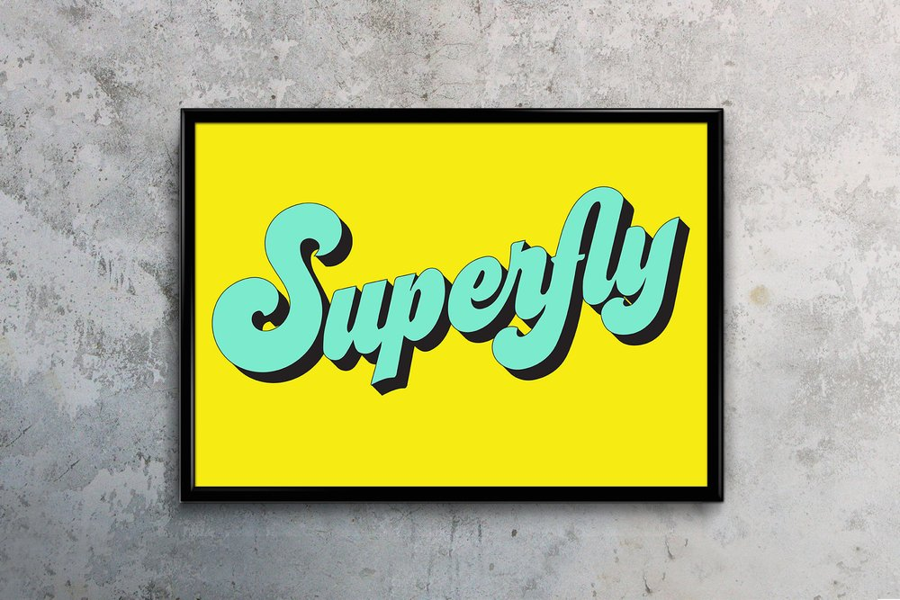 Typography Art Print Superfly Love Frankie