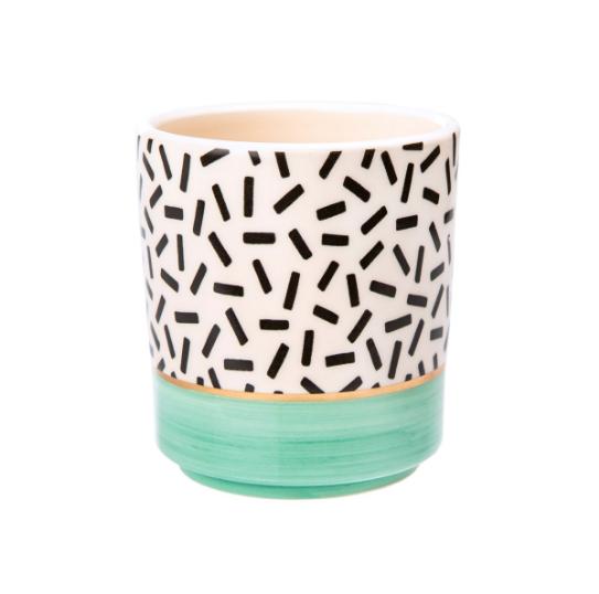 Mini Pastel Planter - Turquoise with Dashes