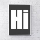 Hi Typography art print - Black