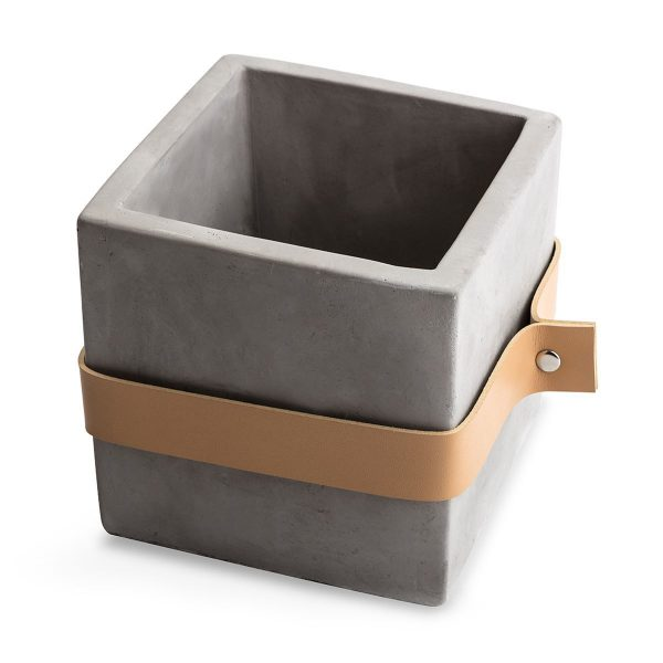 Square Concrete Planter with leather band