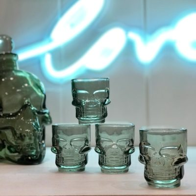 Set of four gothic skull shot glasses