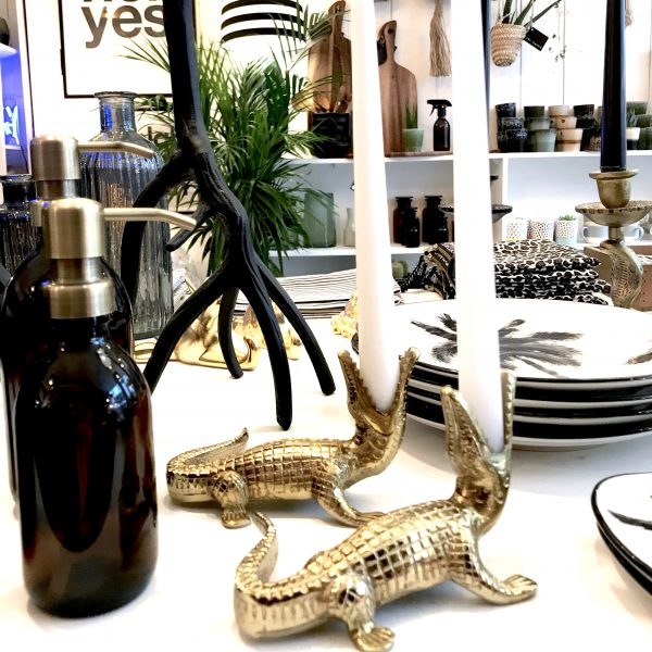 luxe gold crocodile candle sticks