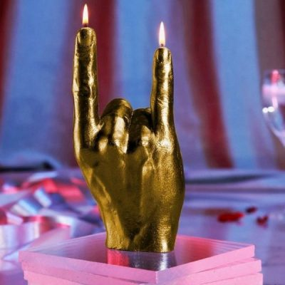 Rock On Hand Candle - Gold