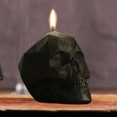 Small Black Skull Candle