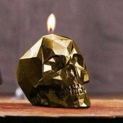 Small Gold Skull Candle
