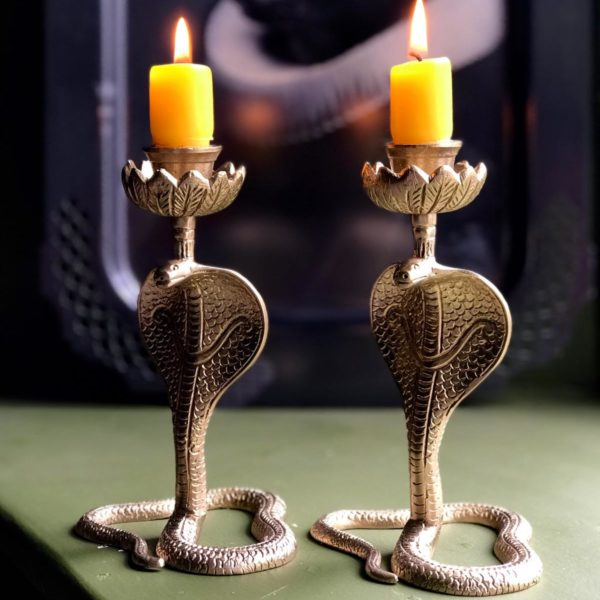 Serpent snake candlestick in antique gold