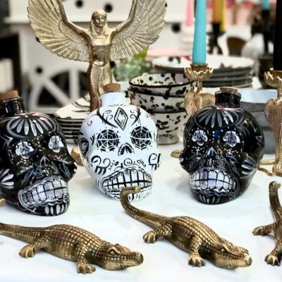 Day of the Dead Drinks decanters and antique gold crocodile wall hooks