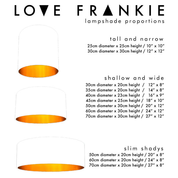 Love Frankie lampshade Sizes and Dimensions