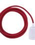 Scarlet Red ES27 Flex & Fitting Set with Porcelain Bulb Holder