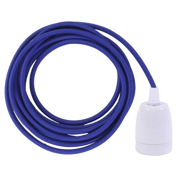 Electric Blue ES27 Flex & Fitting Set with Porcelain Bulb Holder