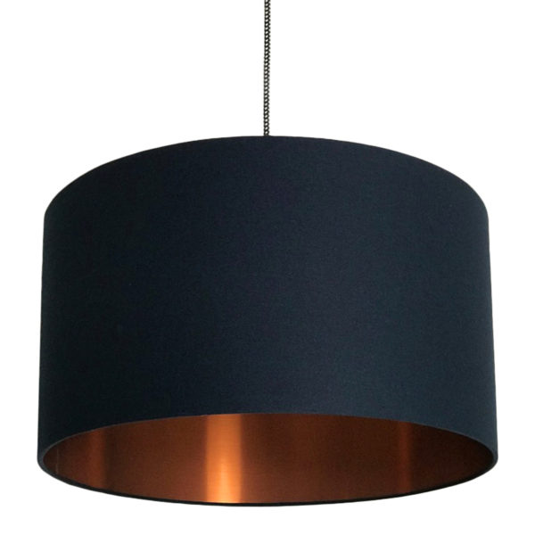 Deep Space Navy Lampshade With Brushed Copper Lining