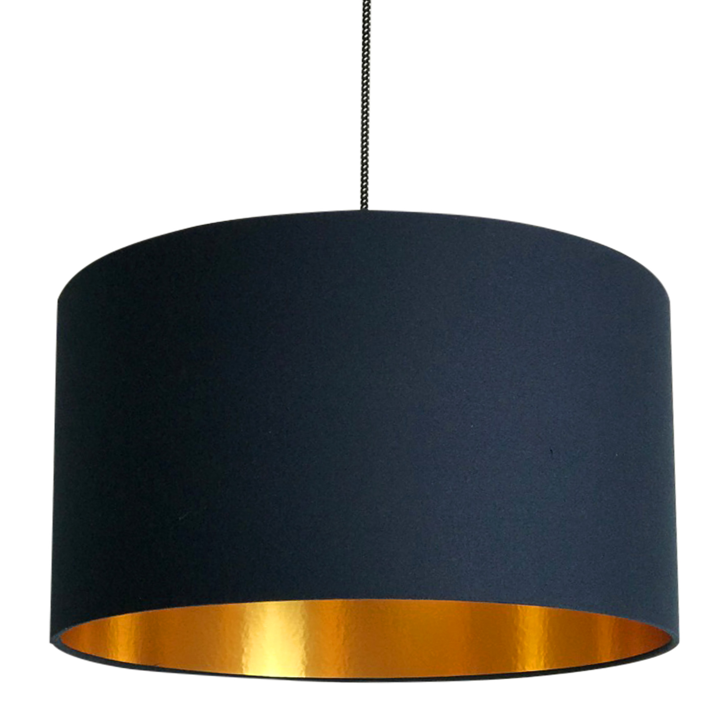 Deep E Navy Handmade Lampshade With Gold Lining