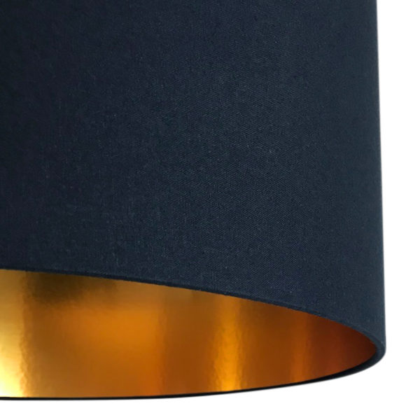 Deep Space Navy Handmade Lampshade with Gold Lining