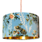 Floral Duck Egg Blue Velvet Lampshade with Gold Lining