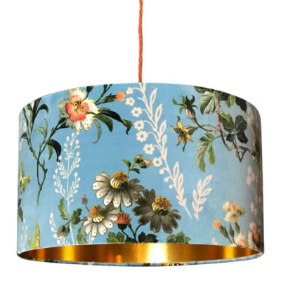 247423170de Floral Duck Egg Blue Velvet Lampshade with Gold Lining ...