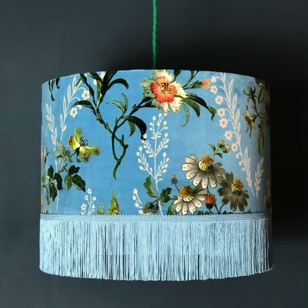 Floral Duck Egg Velvet Lampshade with Gold Lining & Fringing