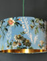 Floral Duck Egg Velvet Lampshade with Gold Lining