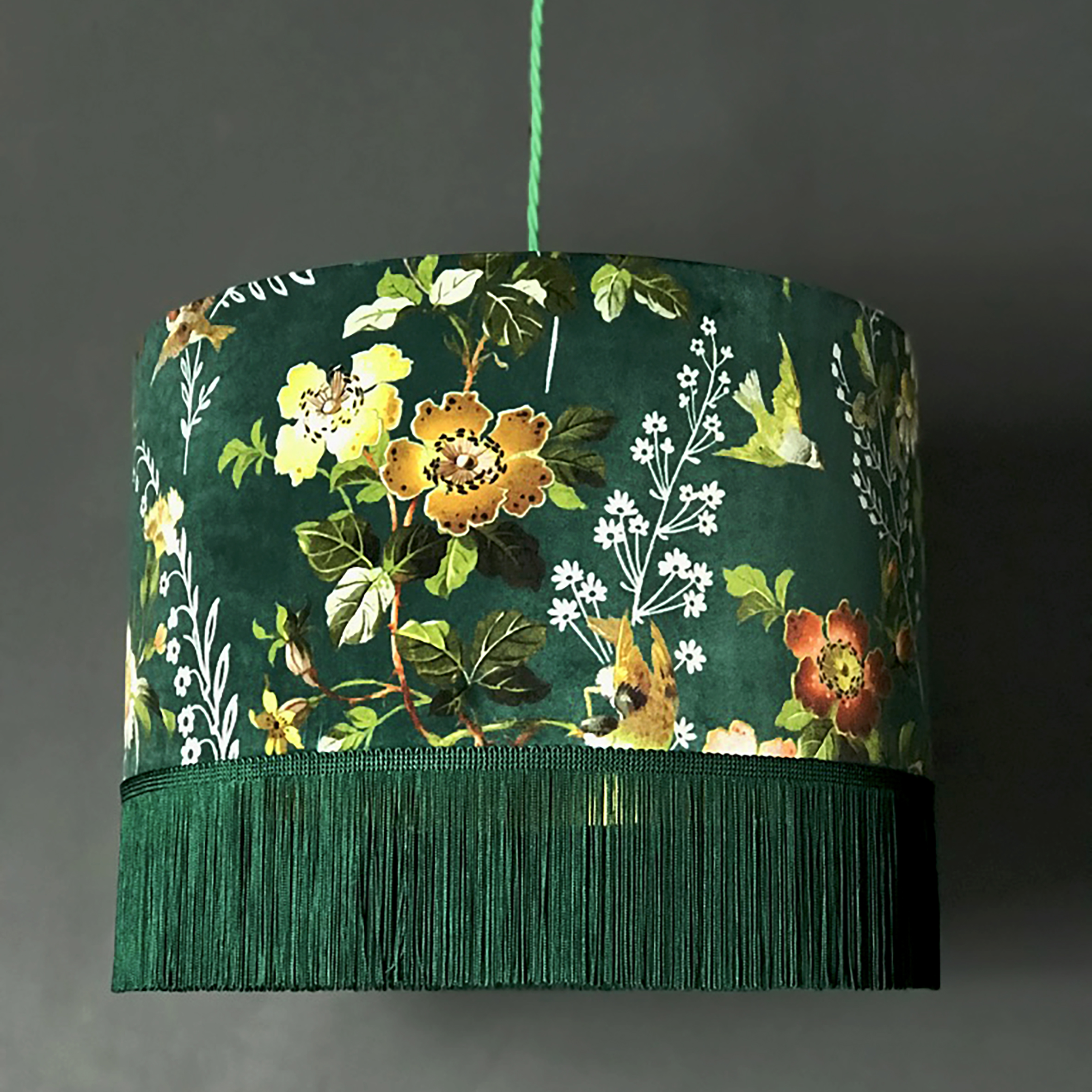 Flora X Fauna Forest Green Velvet Lampshade With Fringing