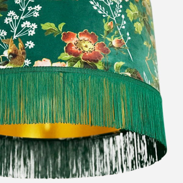 Close up of flora x fauna forest green lampshade