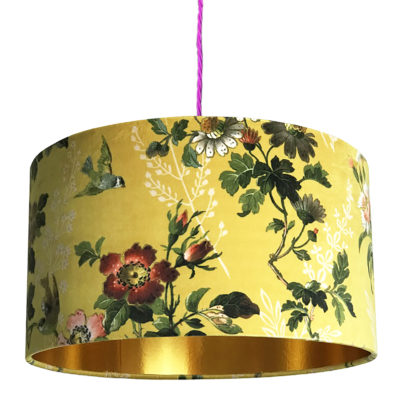 Floral Mustard Velvet Lampshade with Gold Lining