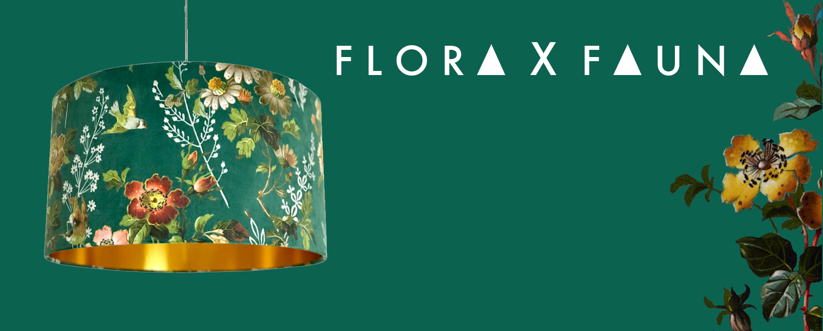 Flora X Fauna Floral Velvet Lampshade Collection