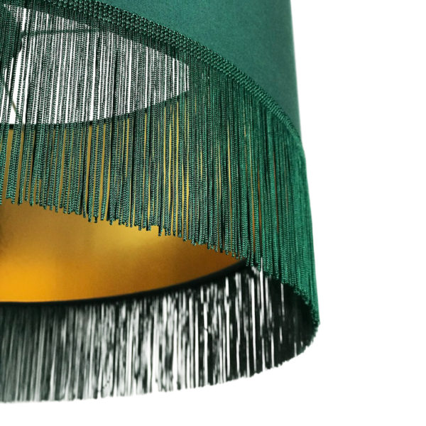 Hunter Green Lampshade with Gold Lining & Green Fringing