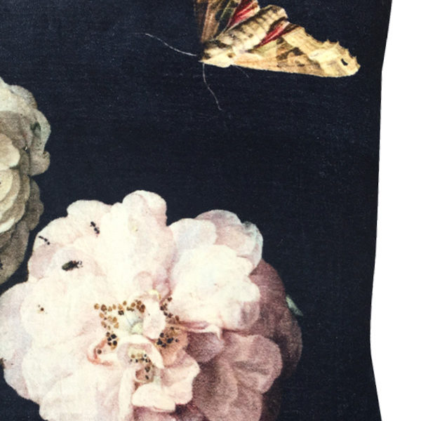 Bouquet and The Moth Velvet Cushion