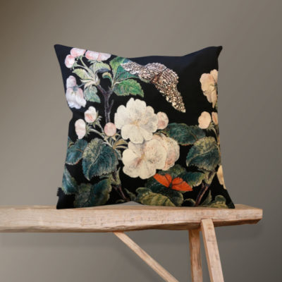 Apple Blossom Cushion in Black