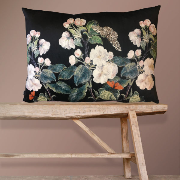 Apple Blossom Bolster Cushion in Black