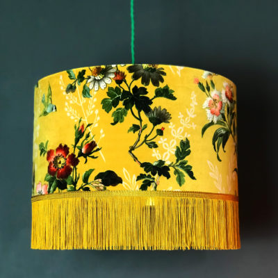 Floral Mustard Velvet Lampshade with Gold Lining & Fringing