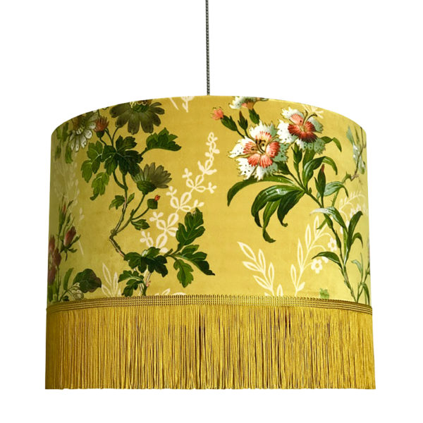 Flora x Fauna Mustard Velvet Lampshade with Fringing