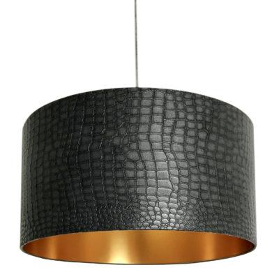 Black Mock Crocodile Print Lampshade with Gold Lining