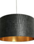 Black Mock Crocodile Print Lampshade with Gold Lining