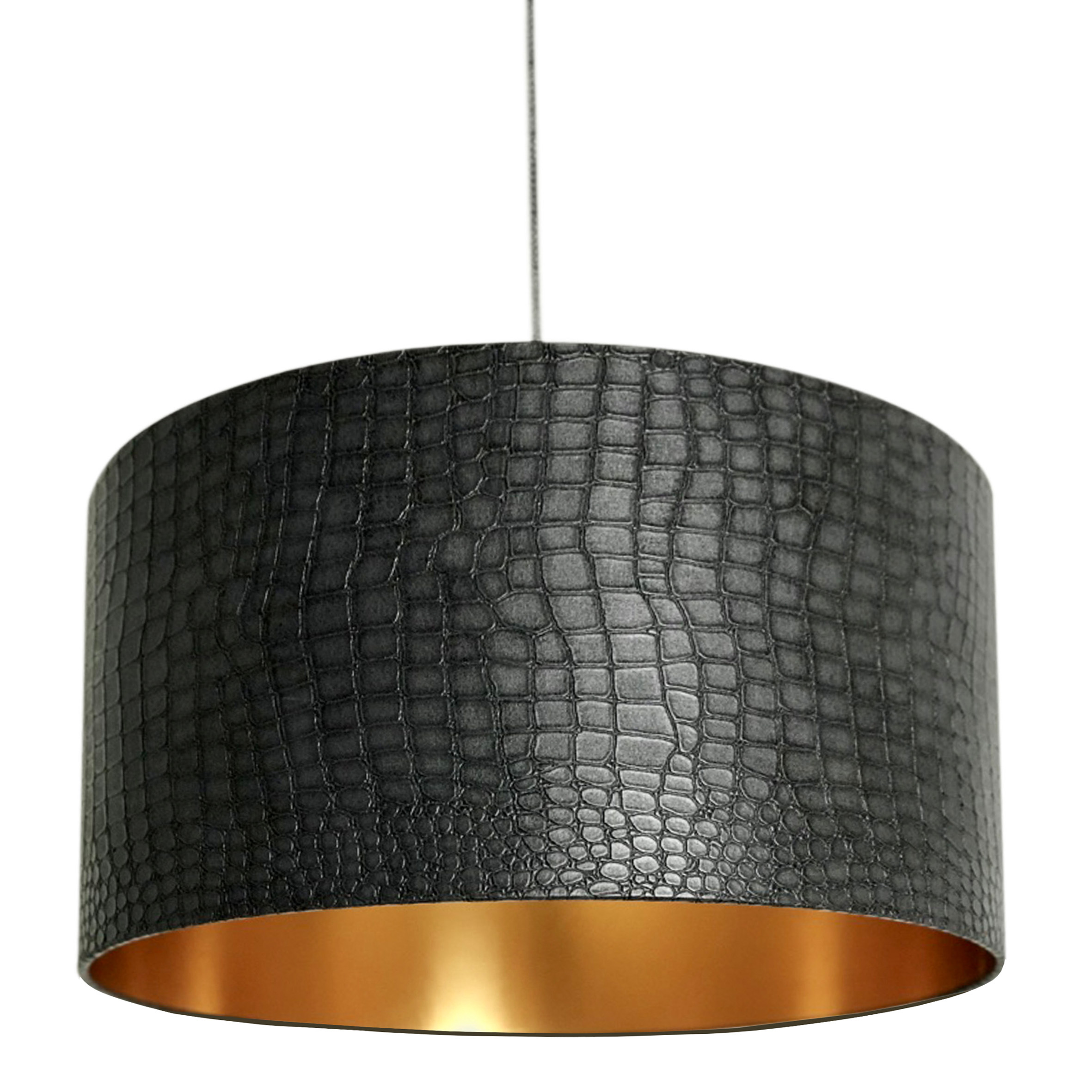 Mock Croc Print Lampshade With Ambient Gold Lining Handmade To Order