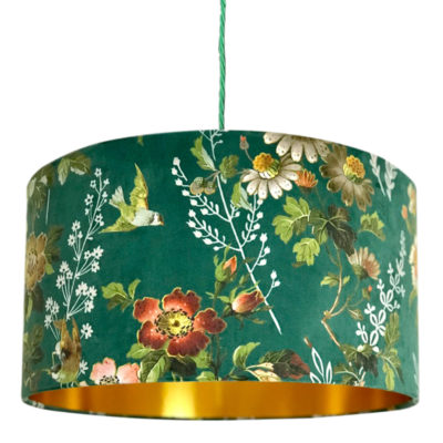 Floral Forest Green Velvet Lampshade with Gold Lining