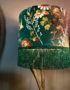 Floral Forest Green Velvet Lampshade with Gold Lining & Fringing