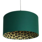 Wild Leopard Silhouette Lampshade in Hunter Green