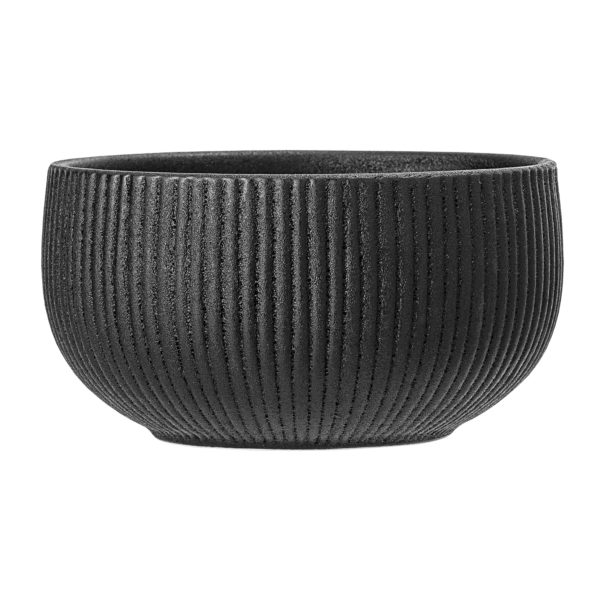 Artisan Charcoal black ribbed bowl