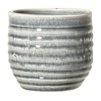 Grey Crackled Flower Pot