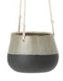 Oatmeal and Grey Stoneware Hanging Planter