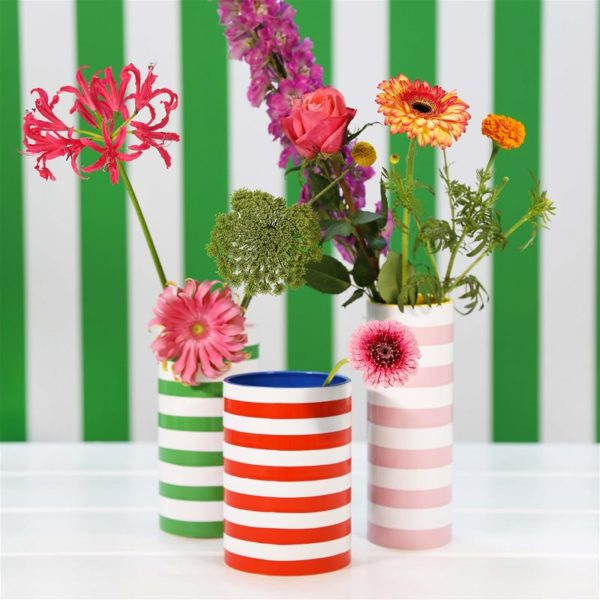 Stripy vases available in green, red and pink