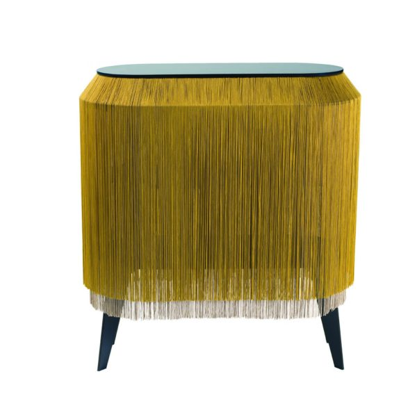 Baby Alpaga Fringed display Cabinet in Gold