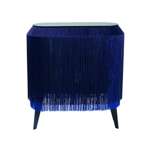 Baby Alpaga Fringed display Cabinet in Electric Blue