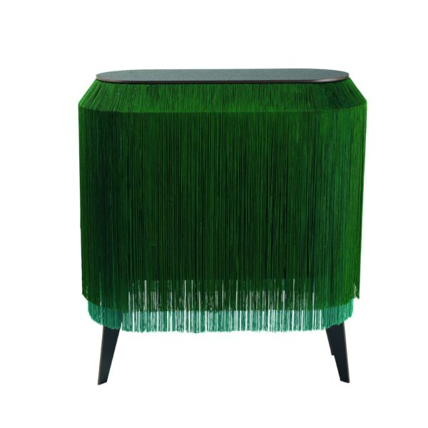 Baby Alpaga Fringed display Cabinet in Green