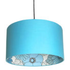 Flower Power Silhouette Lampshade in Sky Blue