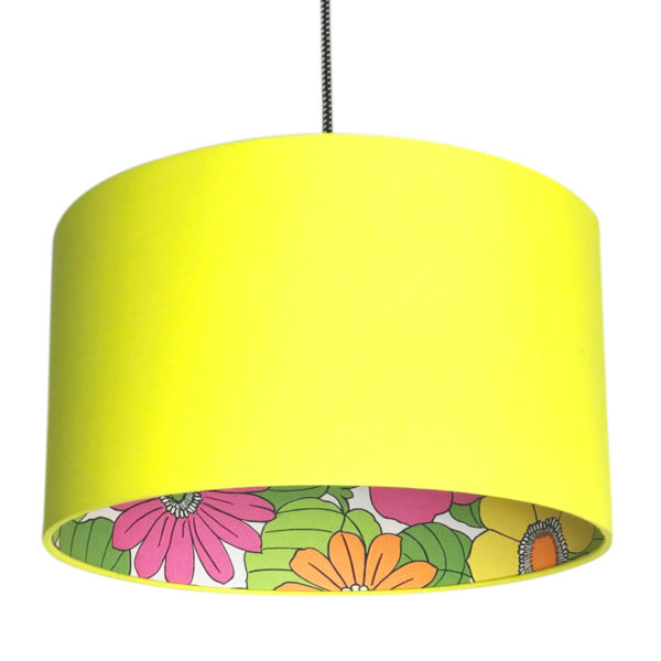 Flower Power Silhouette Lampshade in Sunshine Yellow