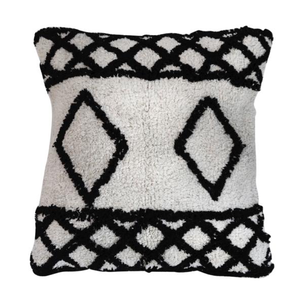 Berber Inspired Monochrome Diamond Cushion