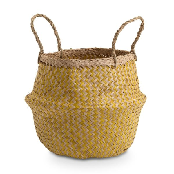 Small Natural and Yellow Seagrass Basket