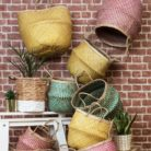 Natural and Yellow Seagrass Basket