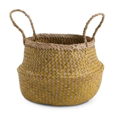 Medium Natural and Yellow Seagrass Basket
